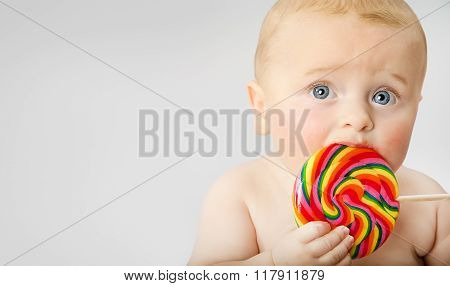 Baby Boy With Lollypop
