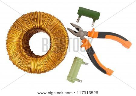 Pliers And Voltage Toroidal Transformer