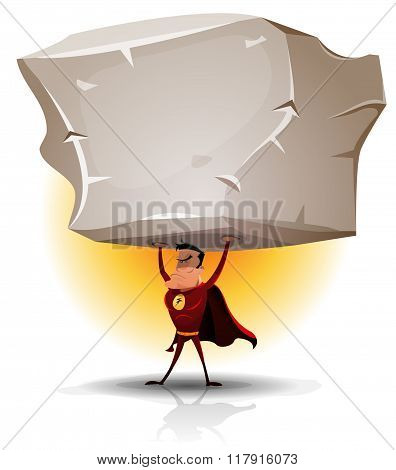 Superhero Holding Heavy Big Boulder