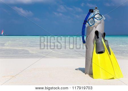 Scuba diving gear on beach
