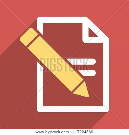 Edit Records long shadow vector icon. Style is a flat light symbol with rounded angles on a red square background. poster