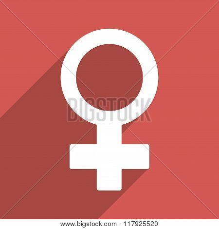 Female Symbol Flat Long Shadow Square Icon