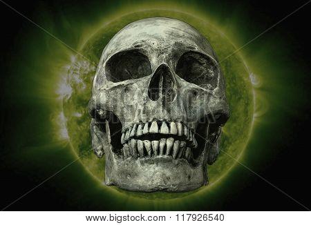 The Skull On Sun Black Background