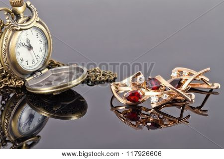 Set Of Gold Jewelry With Rubies And Old Copper Pocket Watch