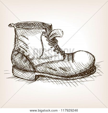 Old boot hand drawn sketch style vector