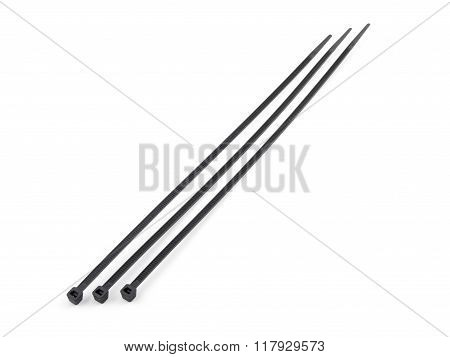 Self-locked Plastic Zip Cable Ties Black Over White Background