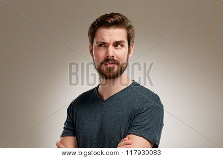 Portrait Of Young Man With Beard, Think About