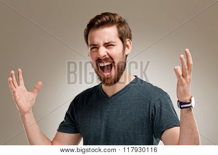 Portrait Of Screaming Young Man