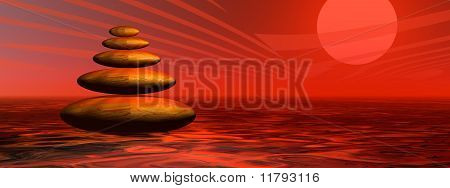 Red Stones By Sunset