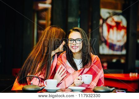 Two young and beautiful girls gossiping on the terrace with a cup of coffee poster