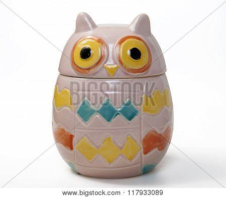 porcelain jar owl shaped isolated on white background
