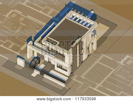 Axonometry Of Modern Building