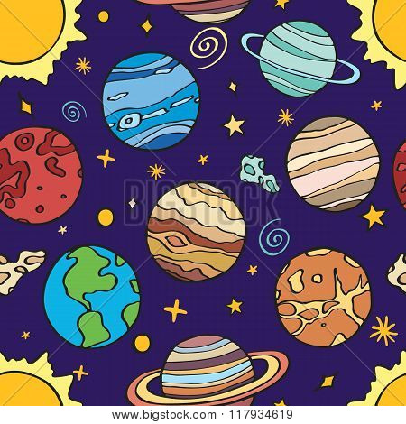 Solar system planets. Seamless pattern with hand-drawn cartoon astro collection - sun, earth, mars,