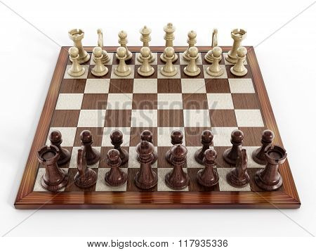 Chess Board With Wooden Chess Pieces