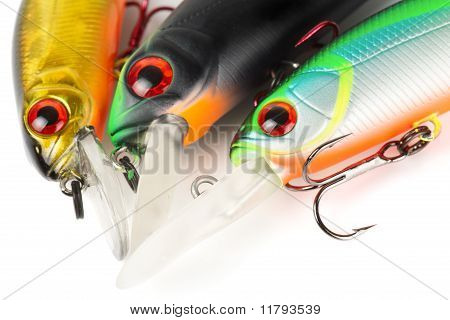 Plastic Fishing Lures (wobbler) Isolated On White