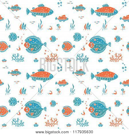 Seamless pattern in lino style, underwater world