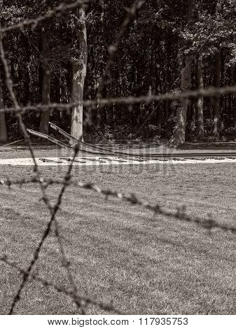 Barb Wire Fence And Railway Track At Former Nazi Transit Camp Westerbork