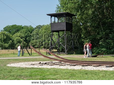 Watchtower And Railway Track At Former Nazi Transit Camp Westerbork
