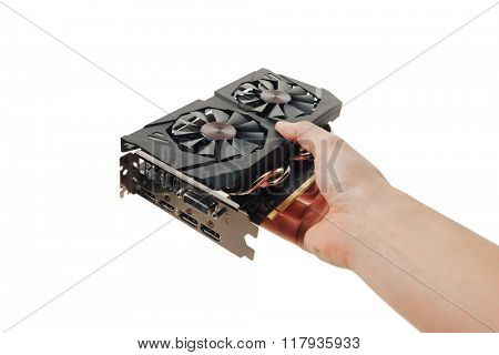 graphic video card in a hand, isolated on white