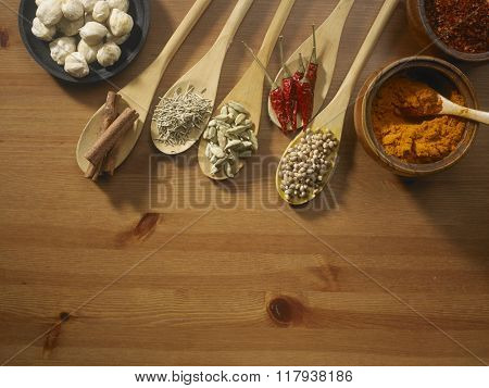assorted spices on the wooden table