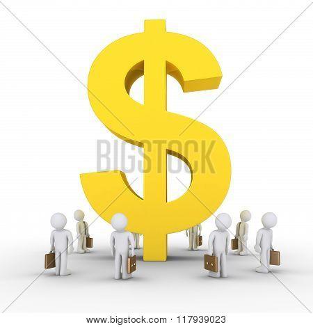 Businessmen And Big Dollar Symbol