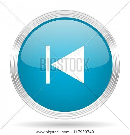 prev blue glossy metallic circle modern web icon on white background
