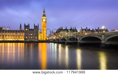 Westminster at dusk at a cloudy day London UK