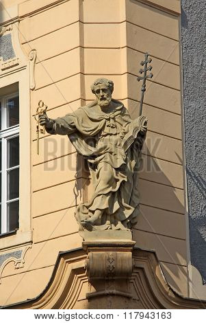 Prague, Czech Republic - April 24, 2013: Statue On The Building Of Mala Strana District
