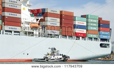 Tugboat Z-three Assisting Cosco Gaungzhou To Maneuver Into The Port Of Oakland
