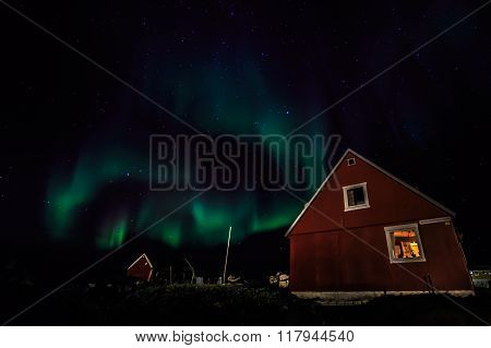 Greenlandic Northern Lights Over Nuuk City