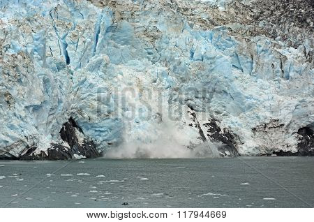 Ice Calving On A Tidal Glacier