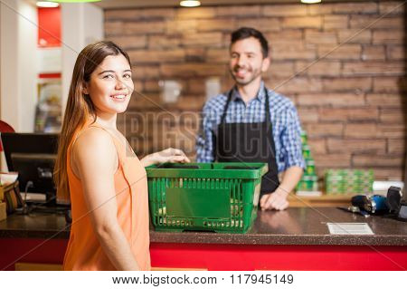 Gorgeous Latin Girl Buying Groceries