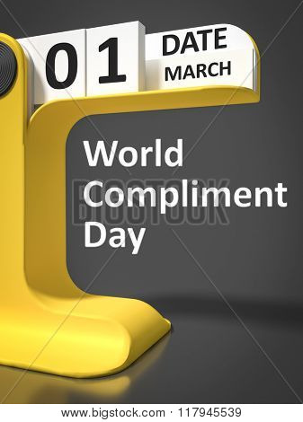 Vintage Calendar World Compliment Day 1st of march