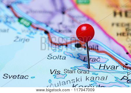 Stari Grad pinned on a map of Croatia