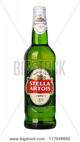 CHISINAU MOLDOVA -: December 12. 2015 Stella Artois prominent brand of Anheuser-Busch InBev is a pilsner brewed in Leuven Belgium since 1926