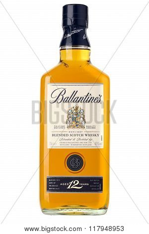 CHISINAU MOLDOVA - December 25 2015: Photo of a bottle of Ballantines 12 years old scotch whiskey.Ballantine's is a range of blended scotch whiskies produced by Pernod Ricard in Dumbarton Scotland.