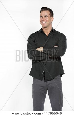 White Male in Black Shirt and Gray Pants