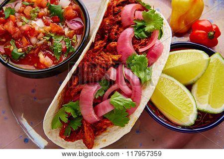 Cochinita Pibil Mexican food with pico de gallo lemon and chili