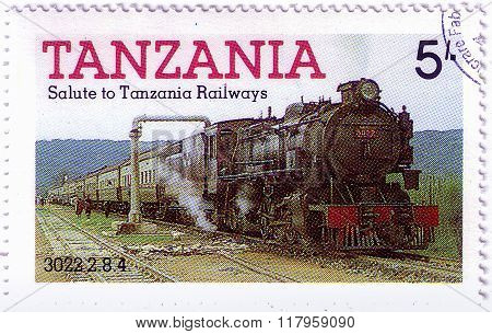 Tanzania - Circa 1991: A Stamp Printed By Tanzania Shows An Old Locomotive Produced In United Kingdo