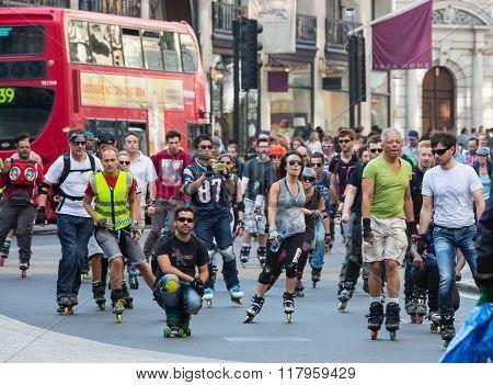 LONDON, UK - OCTOBER 4, 2016: London's roller skaters at the Regent street