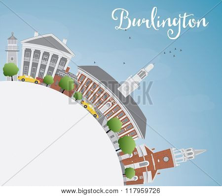Burlington (Vermont) City Skyline with Color Buildings and Copy Space. Business and tourism concept. Image for presentation, banner, placard or web site