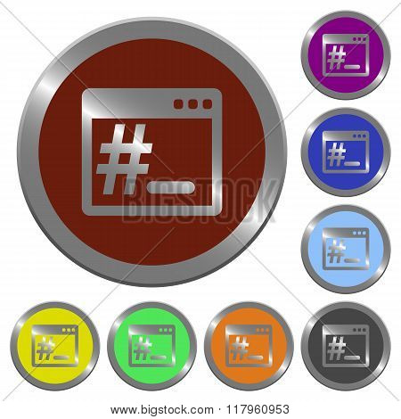 Set of color glossy coin-like linux root terminal buttons. poster