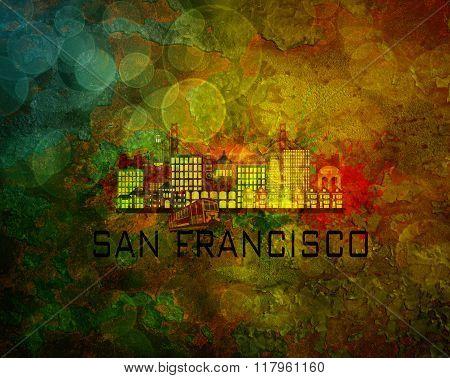 San Francisco City Skyline On Grunge Background Illustration