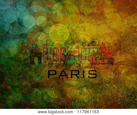 Paris City Skyline On Grunge Background Illustration