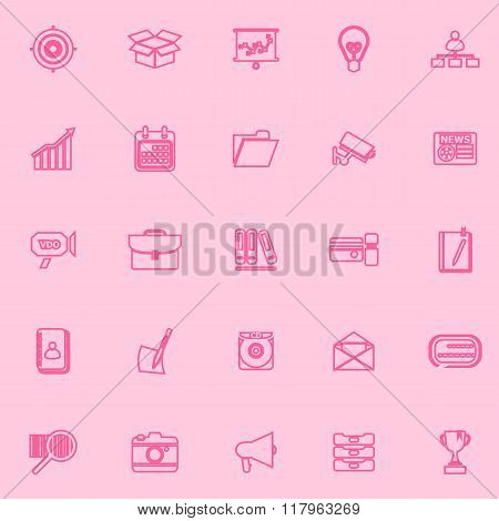 Data And Information Pink Line Icons