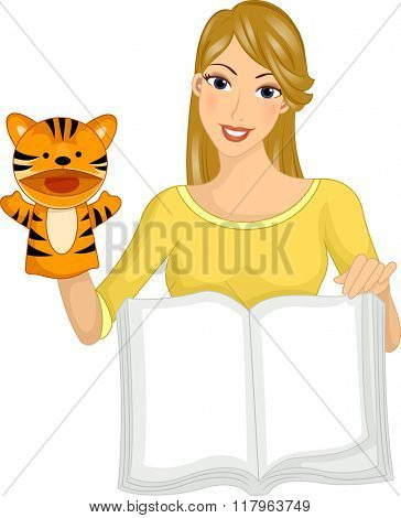Illustration of a Girl Reading a Book Using a Puppet