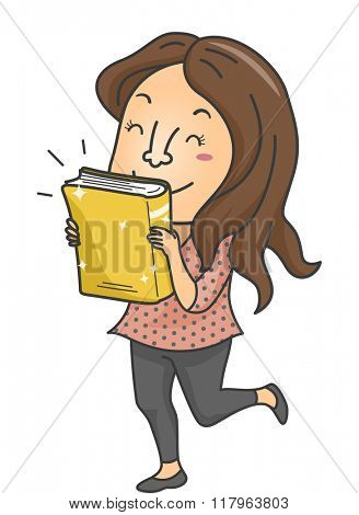 Illustration of a Female Book Lover Excited Over the Release of a New Book