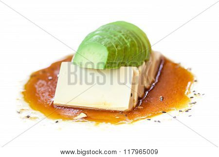 Avocado with tofu and japanese sauce, fusion food