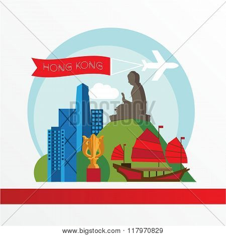 Hong Kong, detailed silhouette. Trendy vector illustration, flat style. Stylish colorful  landmarks.