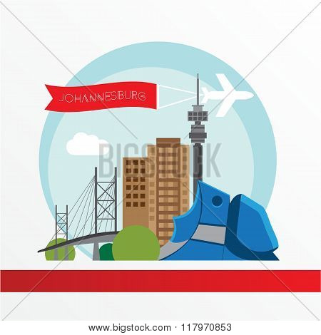 Johannesburg skyline, detailed silhouette. Trendy vector illustration, flat style.
